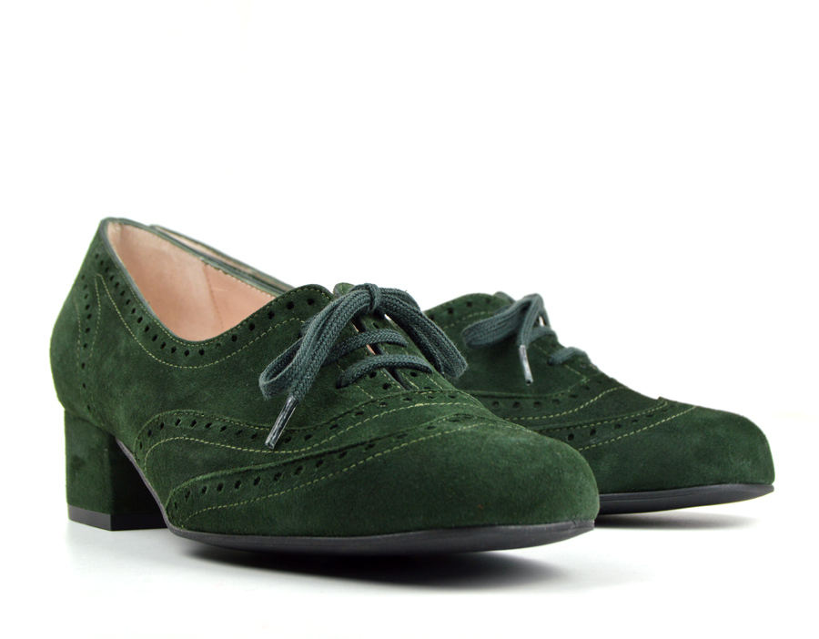 3c3ff6d5de5737 The Faye Brogue In Forest Green Suede – Vintage Style Ladies Shoes ...