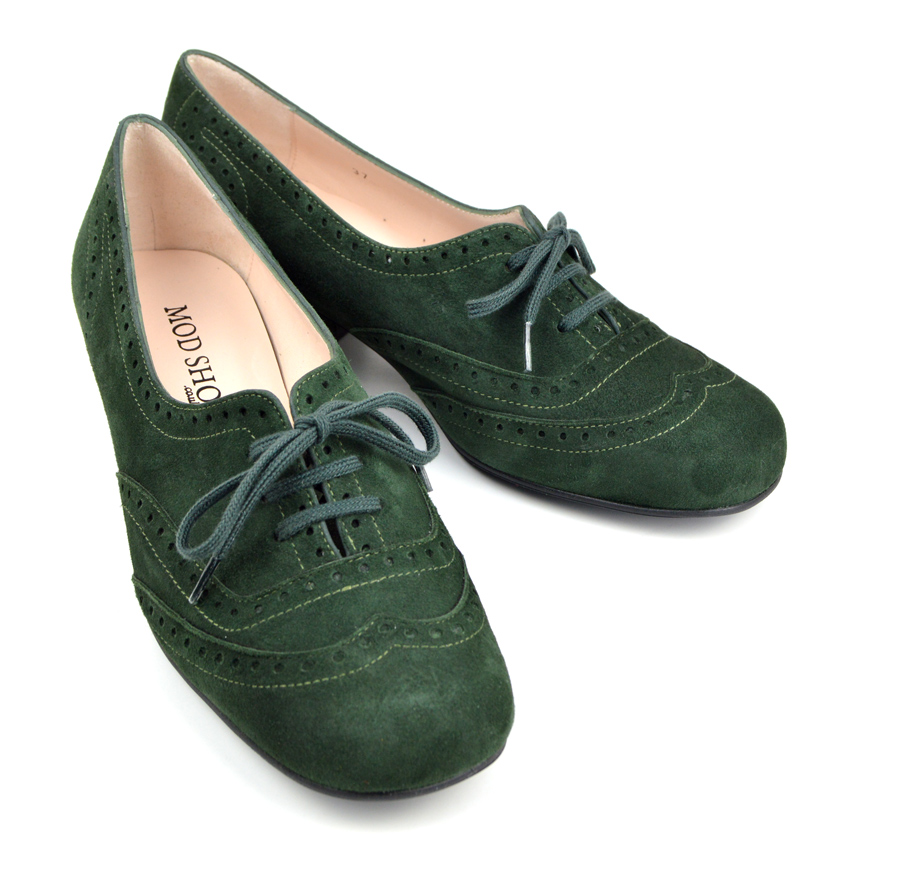 The Faye Brogue In Forest Green Suede – 60s 70s Vintage ...