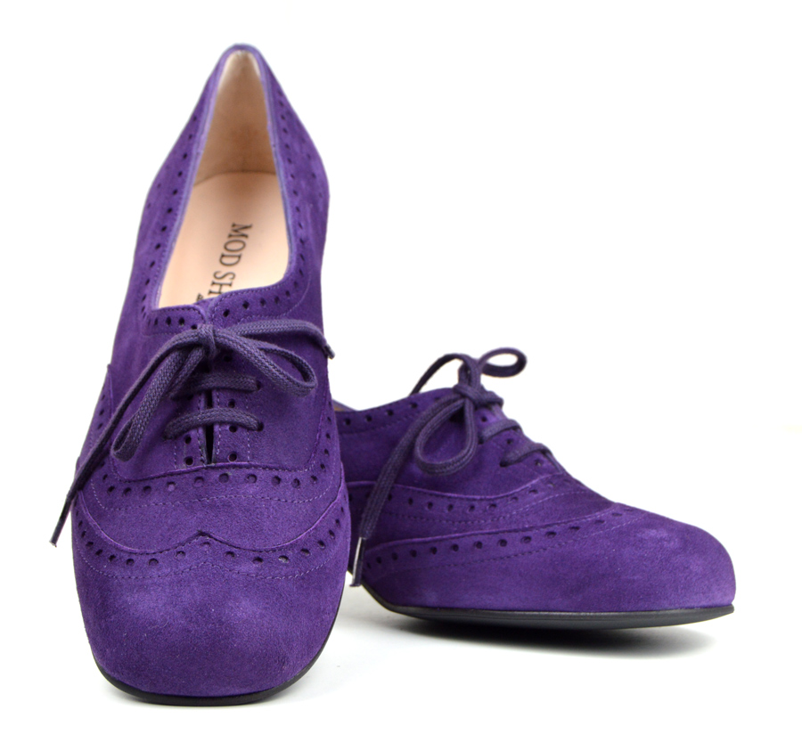 7bea1620b42cf1 The Faye Brogue In Purple Suede – Vintage Style Ladies Shoes – Mod Shoes