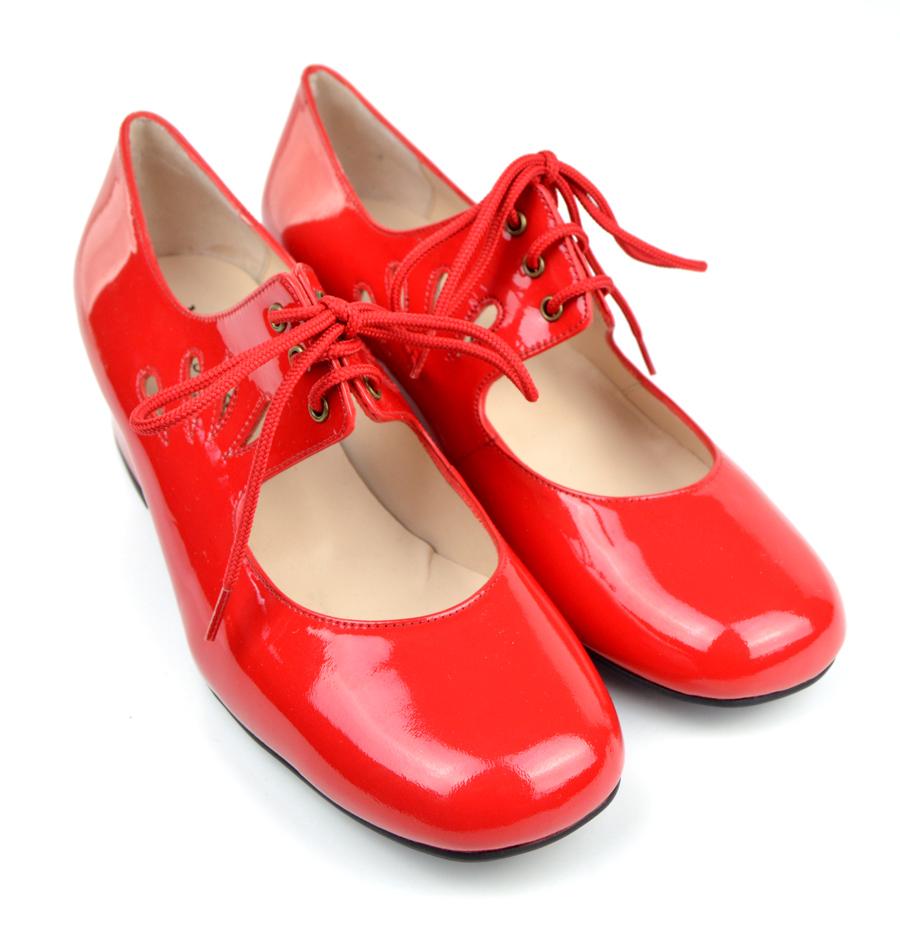 Red Block Heel Shoe Size