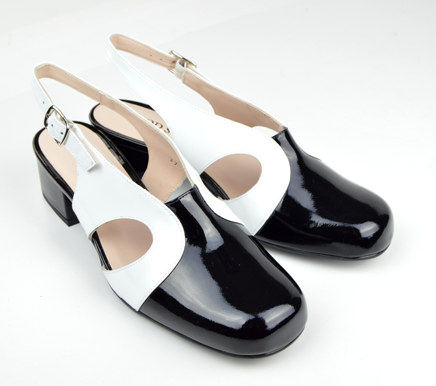 cdcc05b159e The Raquel In Black & White Patent Leather - 60s 70s Vintage Style Ladies  Shoes