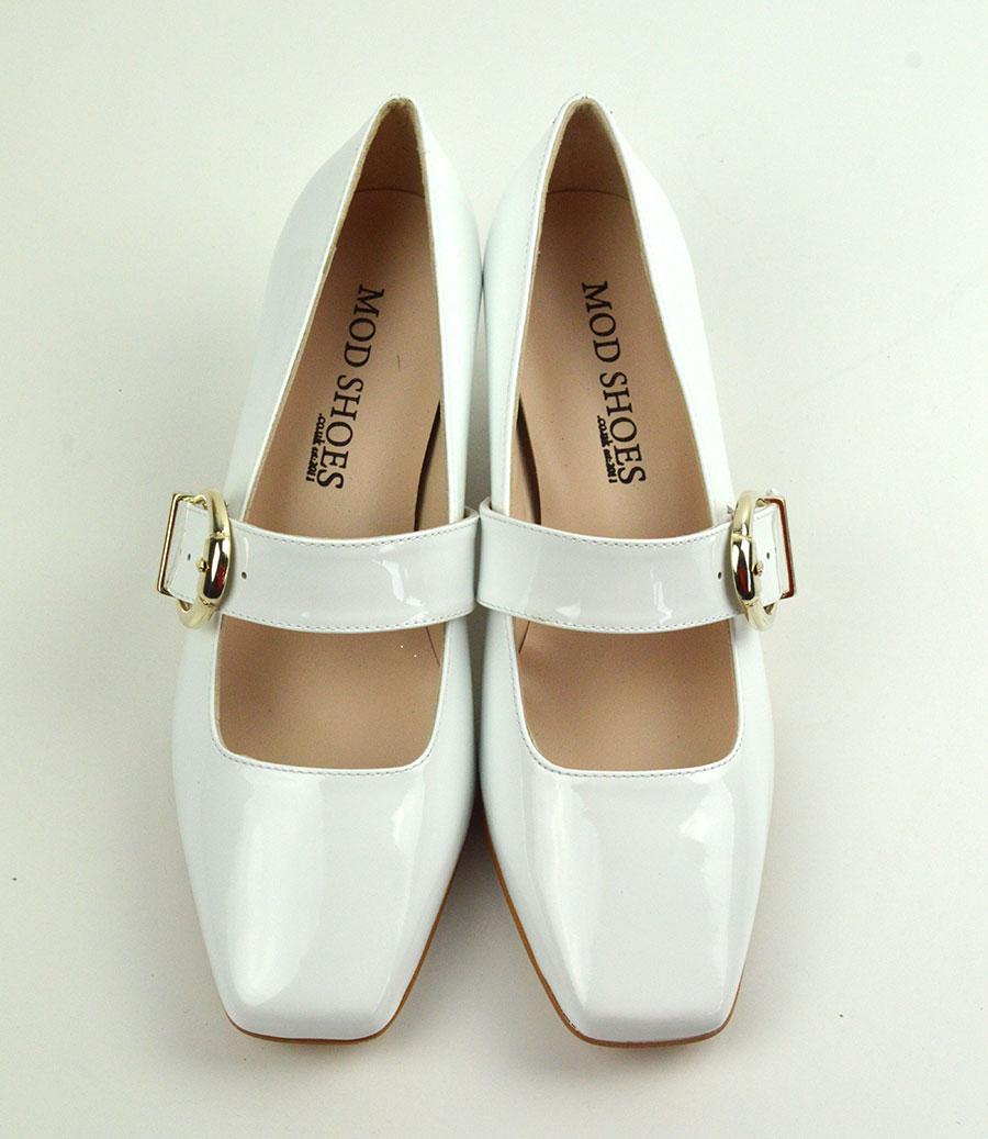 c160ad4f65cf The Lola In White Patent Leather – Mary Jane 60s Style Ladies Shoes ...