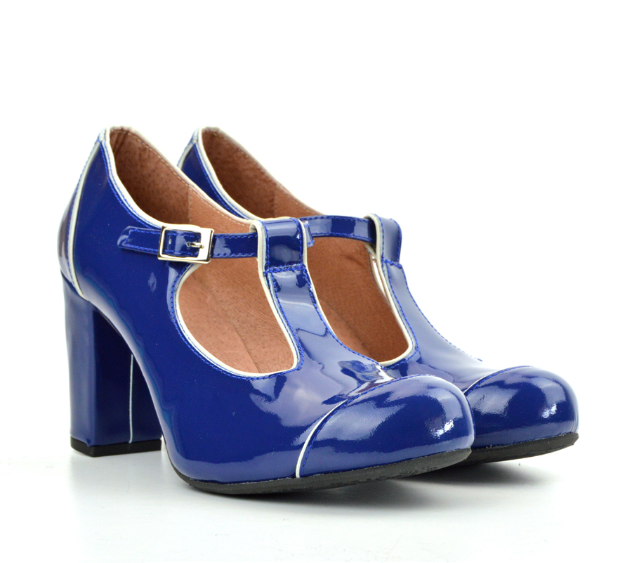 d88a44ef604fe2 Sizes 3 4 8 Only – The Dusty In Blue Patent Leather- Ladies Retro T ...