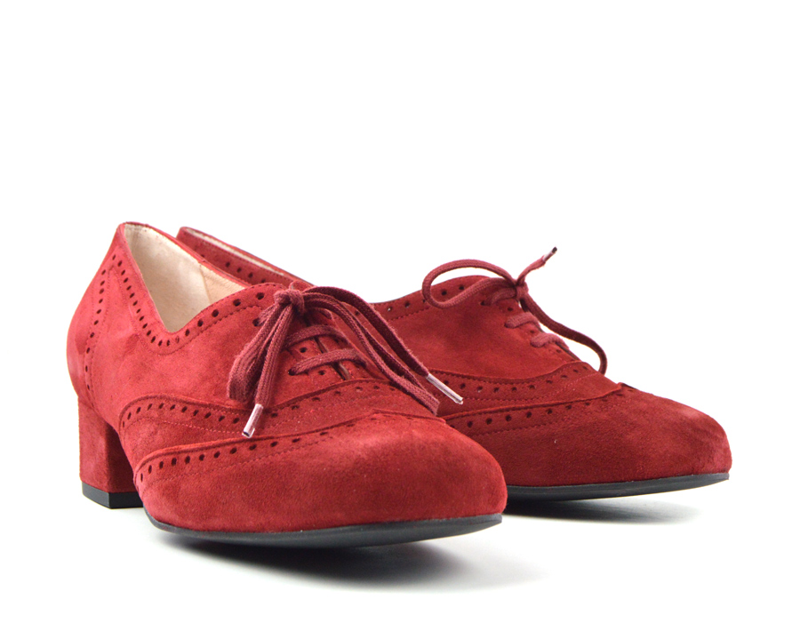 f124f3a46c2f95 The Faye Brogue In Cranberry Suede – Vintage Style Ladies Shoes ...