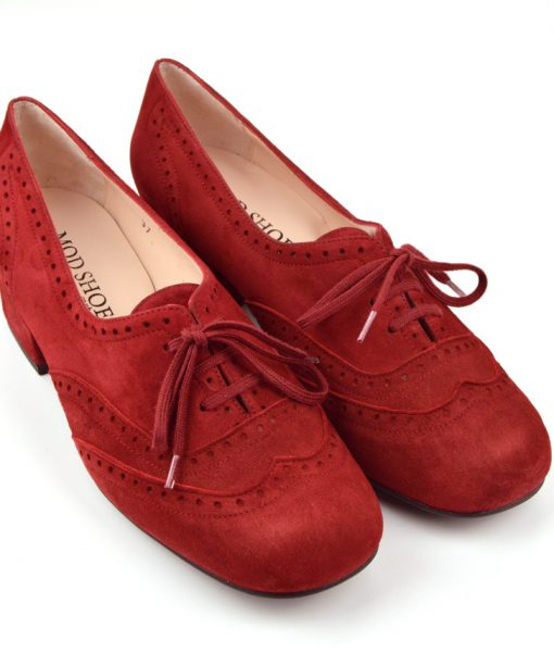 modshoes-ladies-vintage-retro-suede-brogue-black-heel-Cranberry-10
