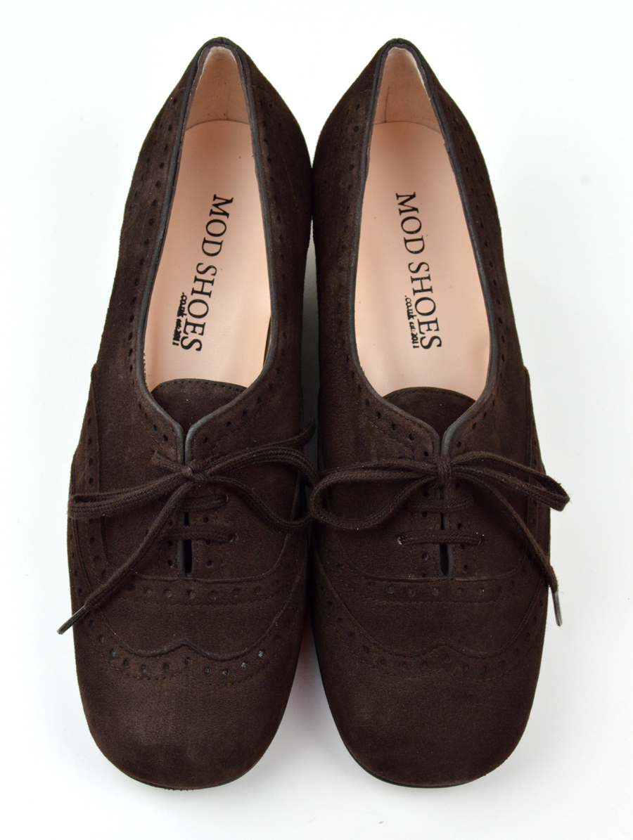 efdd849e53ebd The Faye Brogue In Chocolate Suede - 60s 70s Vintage Style Ladies Shoes