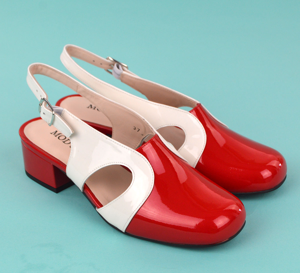 The Raquel In Red   White Patent Leather – 60s 70s Vintage Style ...