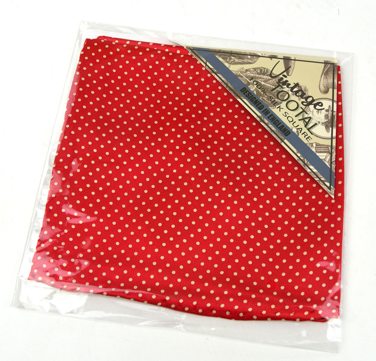 Red Cream Spotted Tootal Pocket Square Vintage Mod Style Mod Shoes