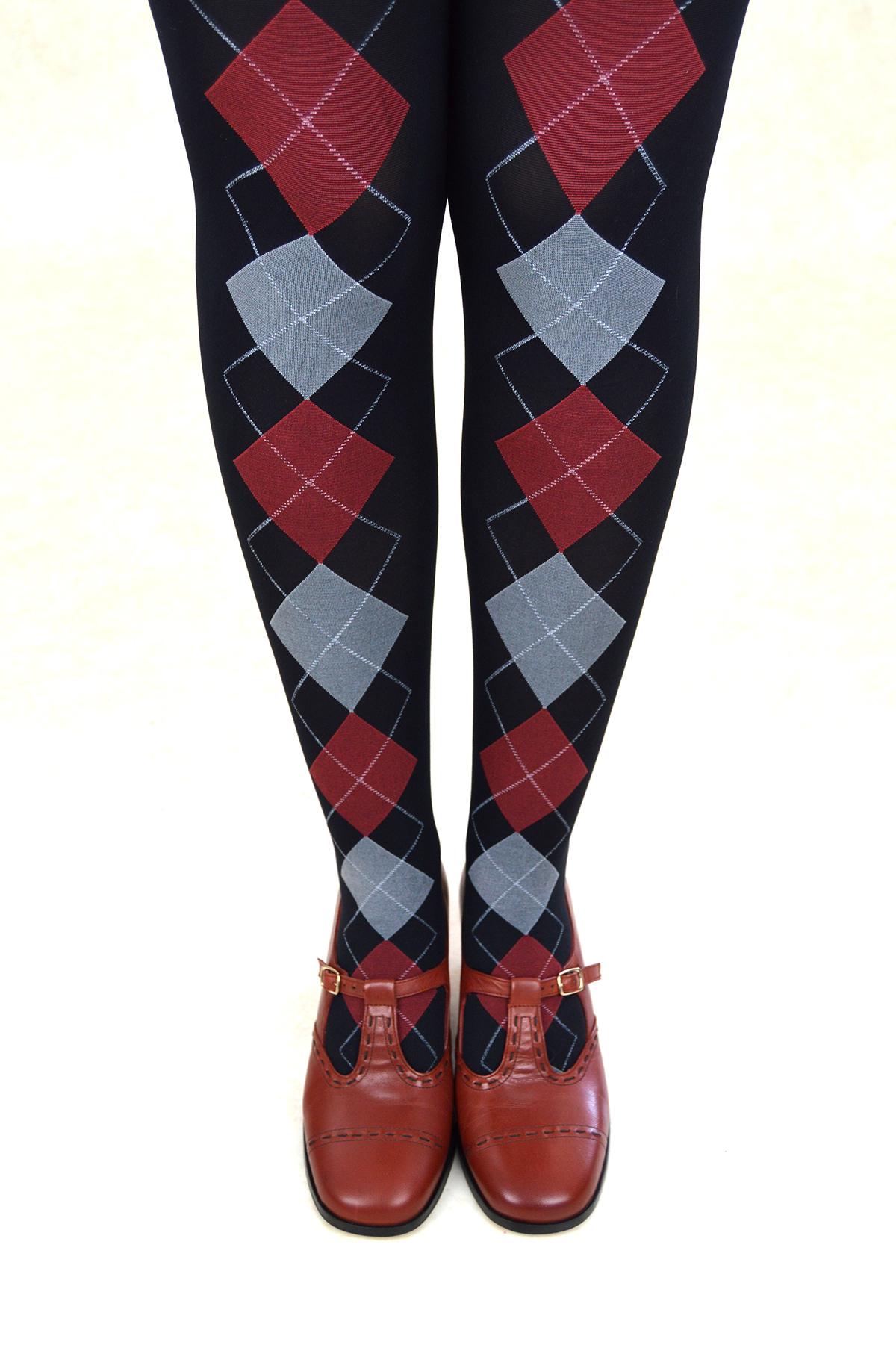 2bb8894867ad Black & Burgundy Argyle Pattern Tights – ladies vintage retro 60s ...
