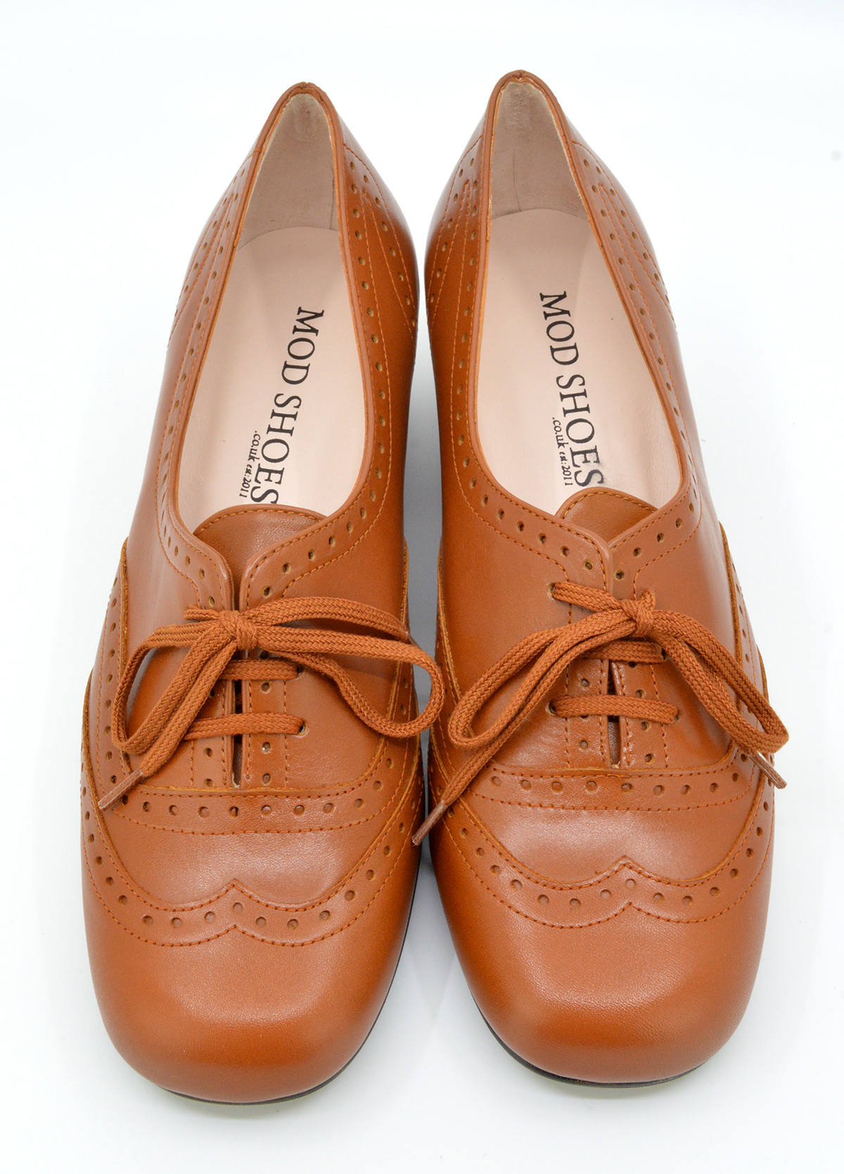 e88fbc440fa37 The Faye Brogue In Salted Caramel Leather - Vintage Style Ladies Shoes