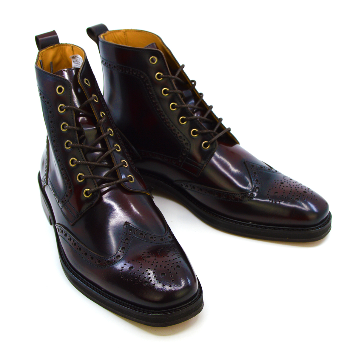 The Shelby V2 New Thicker Soles Oxblood Brogue Boots Peaky Blinders Inspired Mod Shoes