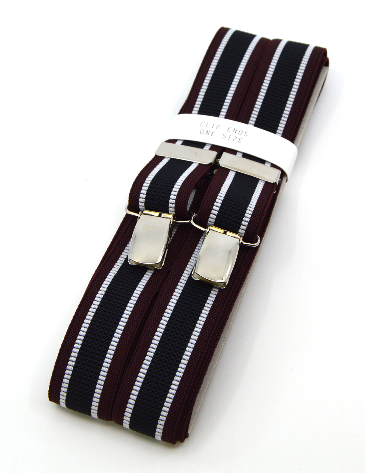 Blue Red Multi Colour Stripe Braces - Vintage Style Clip On