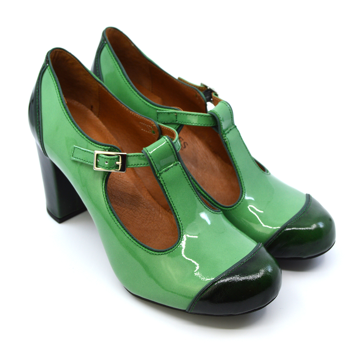 c51f47d213985 The Dusty In 2 Shades Of Green Patent – Ladies Retro T-Bar Shoe by Mod Shoes