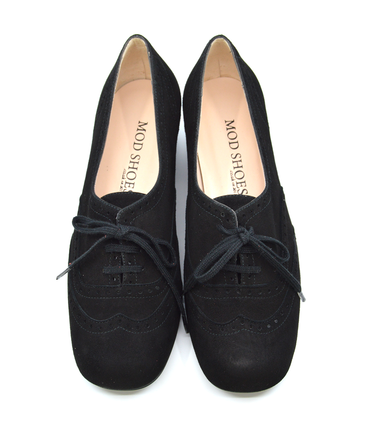 The Faye Brogue In Black Suede