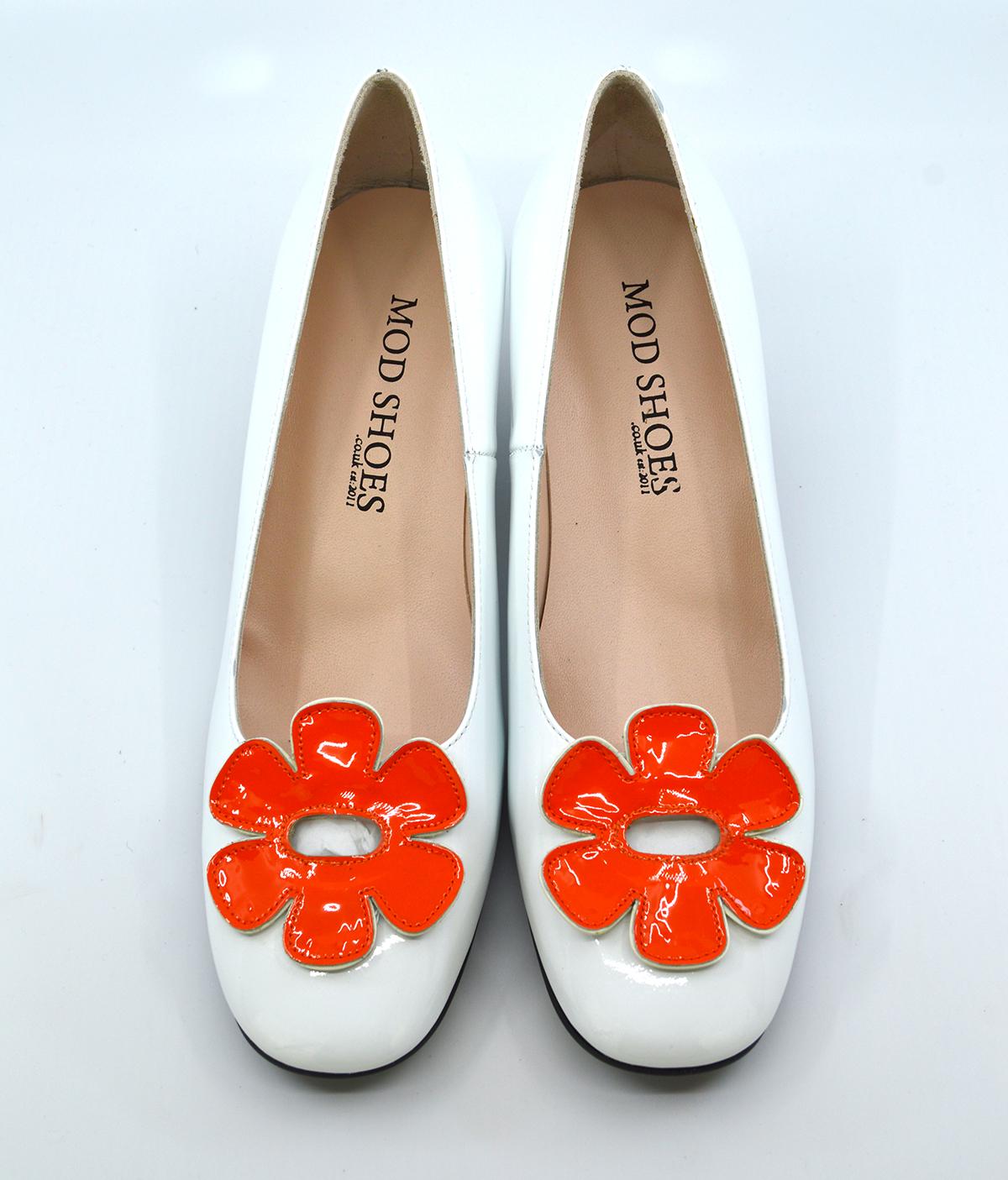 quality design 90a06 da84c modshoes-the-fleur-orange-white–flower-retro-vintage-