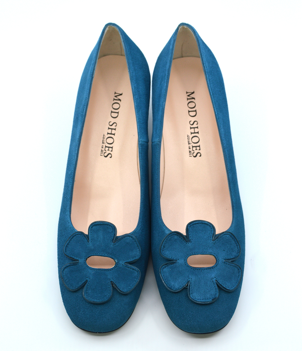 The Fleur Flower Shoes – Teal Suede