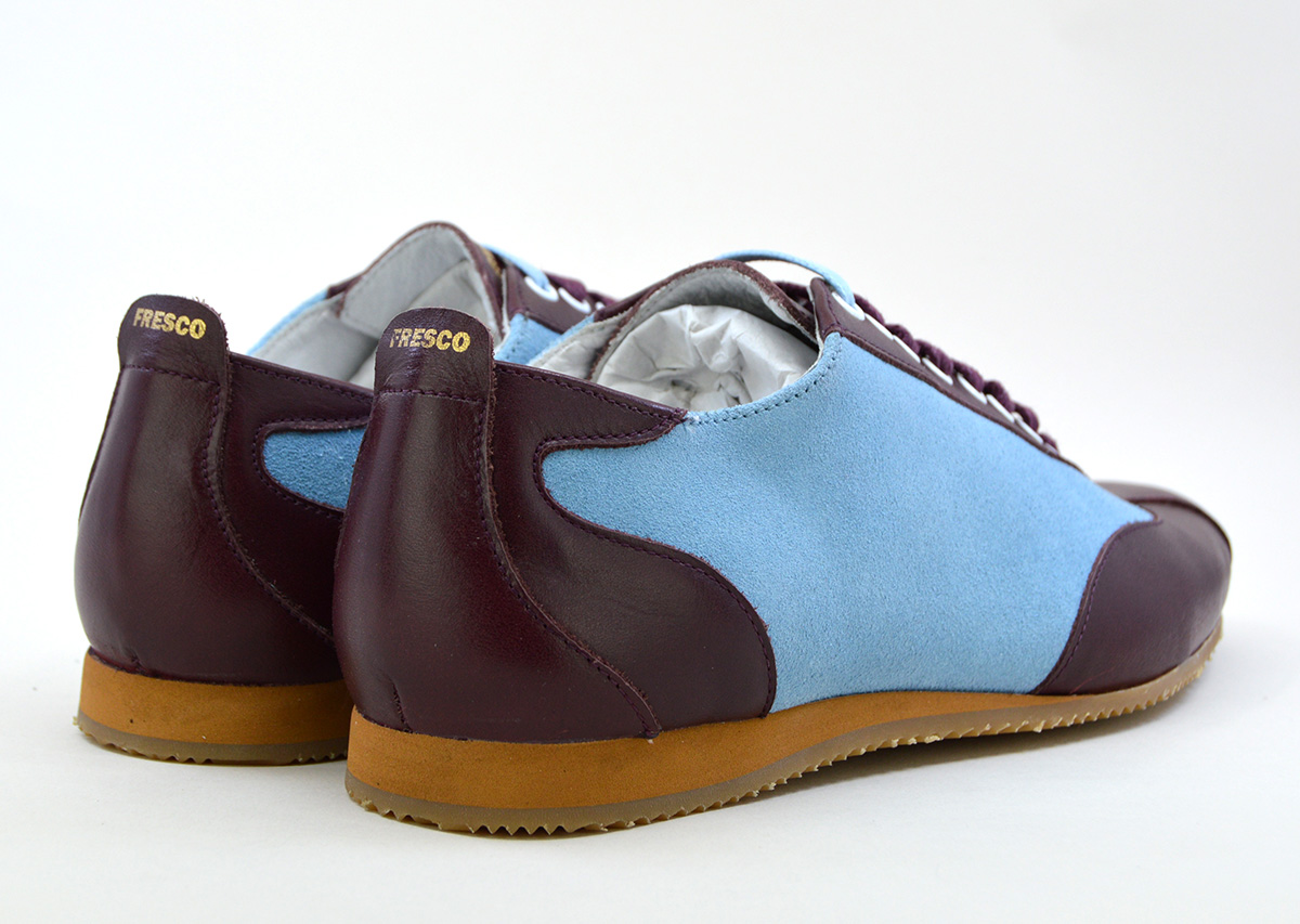9108f735d1 The Fresco In Claret   Blue Leather   Suede – Old School Trainers ...