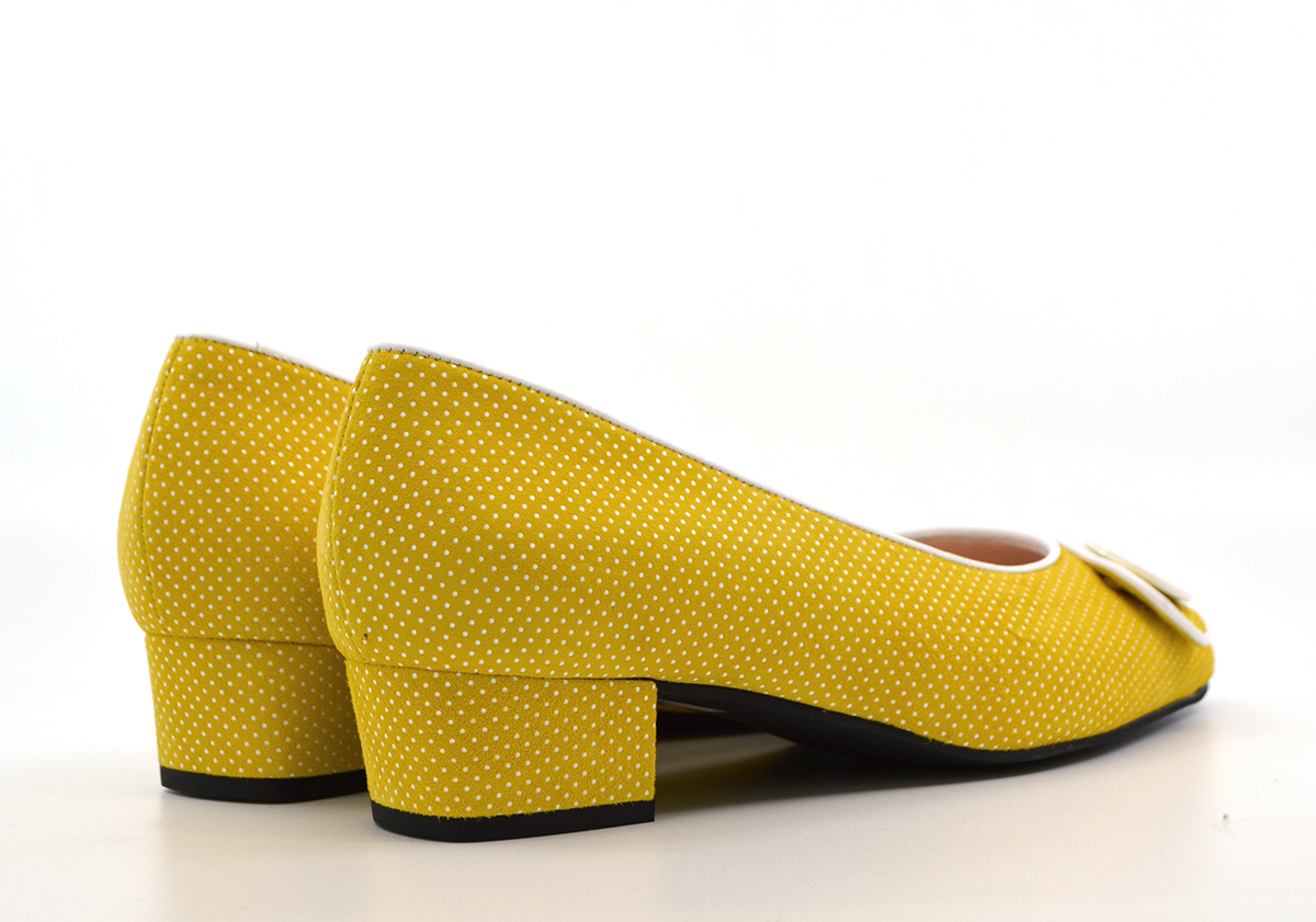 The Julia – Mustard Yellow Dotted Suede