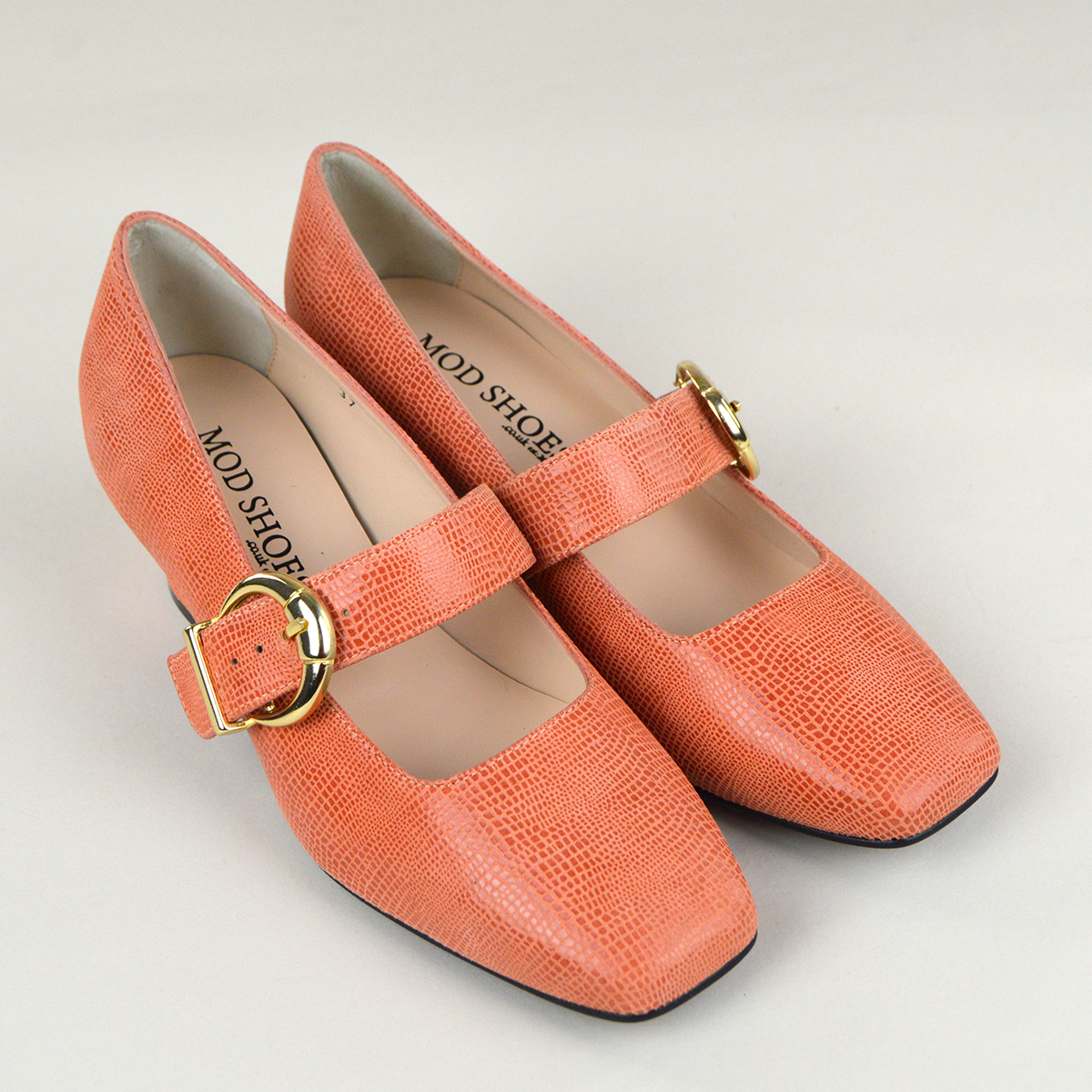 e1521df9b04 The Lola In Coral Textured Effect Leather - Mary Jane 60s Style Ladies  Shoes By Mod Shoes
