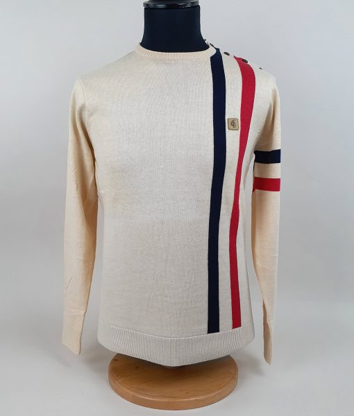 Modshoes-Gabicci-Oat-colour-with-red-blue-Stripe-Long-Sleeve-Top-01