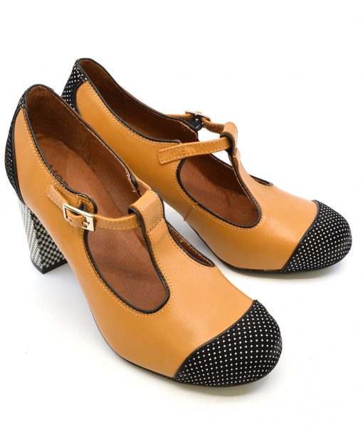 modshoes-dusty-in-salted-caramel-and-black-spotted-ladies-vintage-tbar-shoes-07