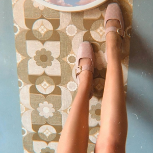 The Lola In Blush Embossed Suede – Mary Jane 60's Style Ladies Shoes By Mod Shoes
