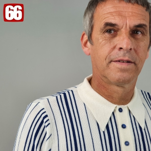The Brunswick – In Ivory & Cobalt Blue Stripes Merino Wool Blend Knitwear Polo- by 66 Clothing