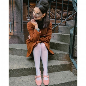 The Lola In Coral Textured Effect Leather – Mary Jane 60s Style Ladies Shoes By Mod Shoes