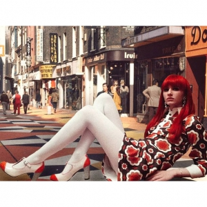 The Dusty In Cream and Tangerine – Ladies Retro T-Bar Shoe by Mod Shoes