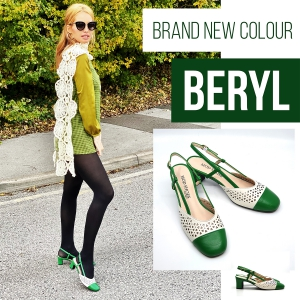 """The """"Beryl"""" Green & Cream Leather – Slingback Ladies Shoes By Mod Shoes"""