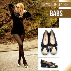 """""""Babs"""" – Black & Cream Leather – Ladies 60's 70's Vintage Style by Mod Shoes"""