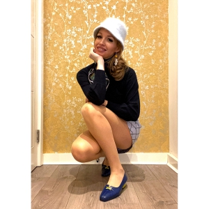 The Ellen Blue & Yellow Loafers – 60's Style Ladies Shoes By Mod Shoes