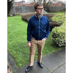 Monkey Jacket – Oxford Blue with White Stripes – Exclusive Colour 66 Clothing By Mod Shoes