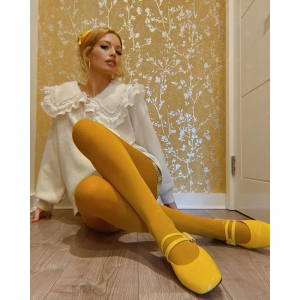 The Prudence – Ladies Flat Retro Vintage 60's Twiggy Style in Sunflower Yellow by Mod Shoes