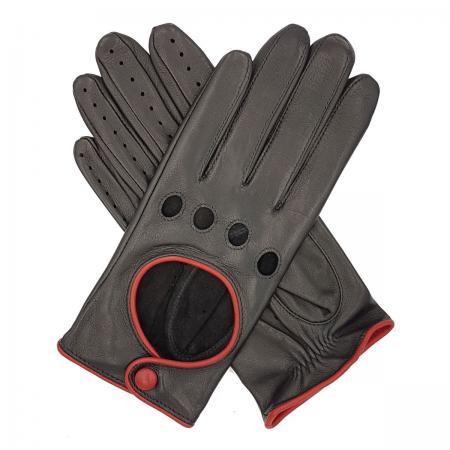 modshoes vintage retro ladies leather gloves jules_contrast_trim_driving_glove_black