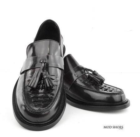 mod shoes basker weave tassel loafers black allnighters 08